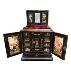 18th Century Continental Ebonized Trinket Cabinet