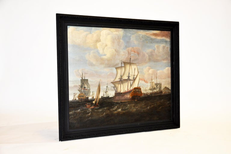 This beautiful painting is from Continental Europe and was made from canvas, paint, and wood, circa 18th century. The painting is in good condition considering its age. The painting has been remounted and reframed with a black colored wooden frame.
