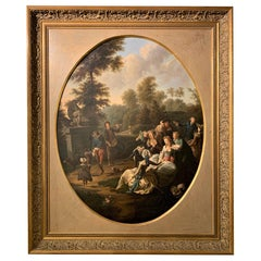18th Century Continental Garden Party Oil Painting