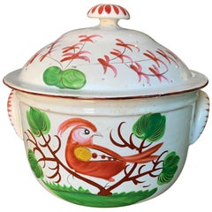 18th Century Continental Porcelain Lidded Pot with Bird, Unmarked