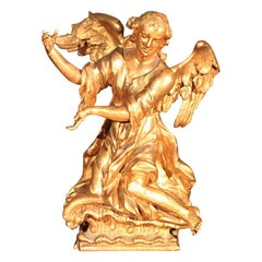 18th century Continental Rococo Giltwood Angel