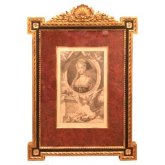 18th Century Copper Engraving in Giltwood Frame Published in 1746, Jane Seymour