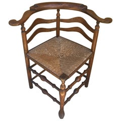 18th Century Corner Chair from New England with Original Woven Seat