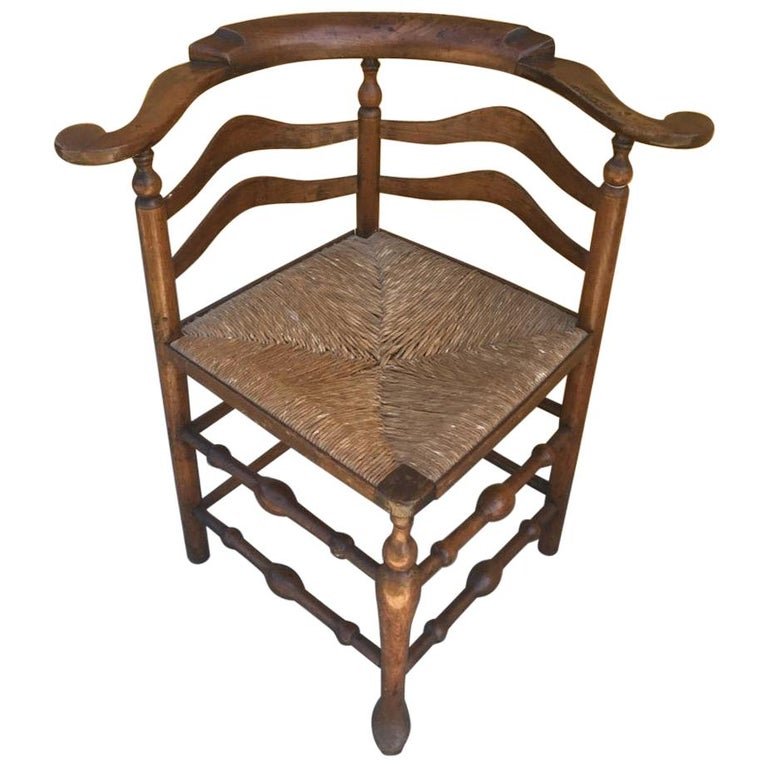 18th Century Corner Chair from New England with Original Woven Seat For Sale