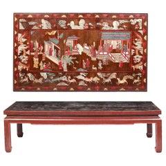 18th Century Coromandel  Coffee Table and a Mahogany Gueridon Table