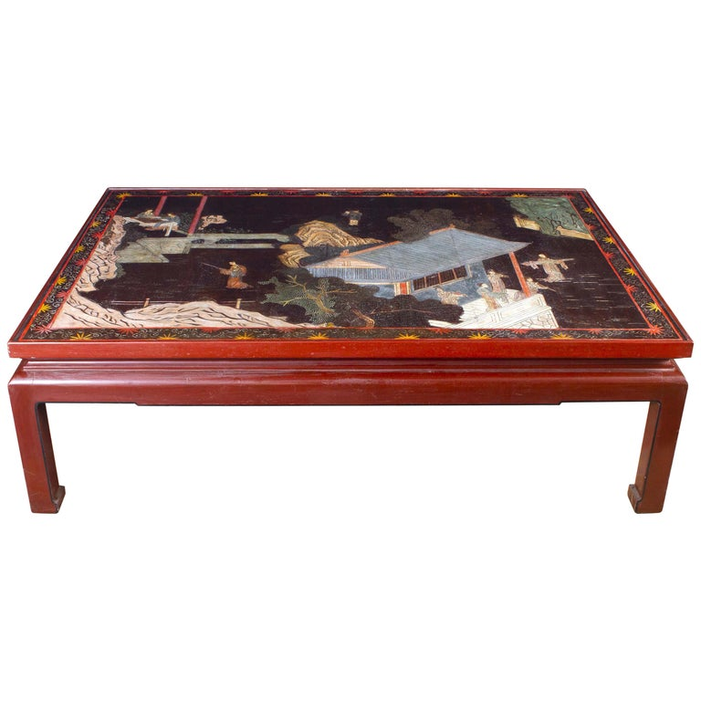 18th Century Coromandel Screen Large Chinese Coffee Table For Sale