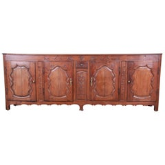 18th Century Country French Carved Walnut Long Sideboard