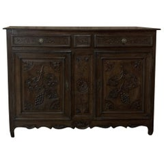 18th Century Country French Hand Carved Oak Buffet with Grapes