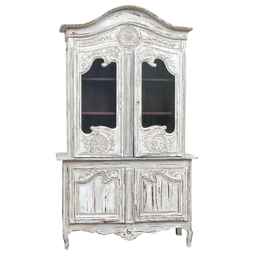 19th Century Country French Painted Bookcase, Buffet a Deux Corps