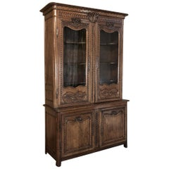 18th Century Country French Provencial Buffet Deux Corps, Bookcase