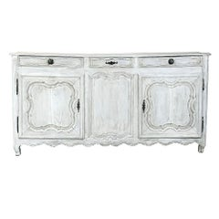 18th Century Country French Provincial Whitewashed Buffet