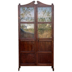 18th Century Cupboard or Bookcase with Glass Vitrine, Walnut, Spain Restored