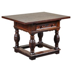 18th Century Danish Baroque Table with Turned Legs