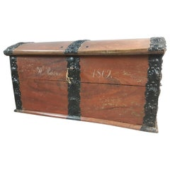 18th Century Danish Painted Oak and Iron Bound Trunk