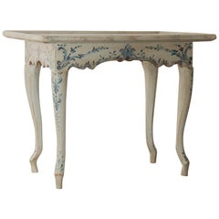 18th Century Danish Rococo Hand Painted Tea Table, circa 1760