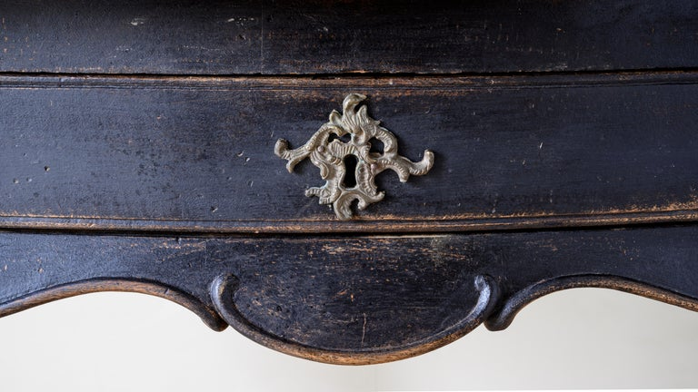 Wood 18th Century Danish Rococo Writing Desk For Sale