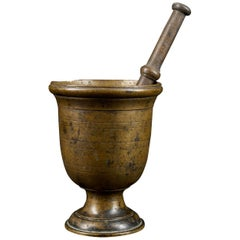 18th Century Decorated Bronze Mortar and Pestle