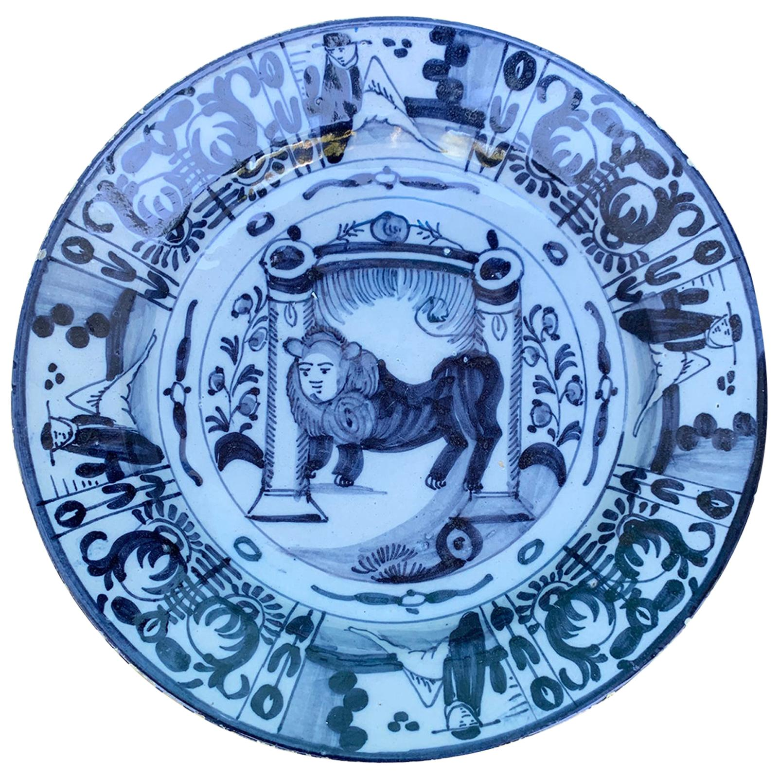 18th Century Delft Blue and White Porcelain Lion Charger
