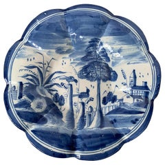 18th Century Delft Blue and White Porcelain Round Scalloped Charger, Unmarked