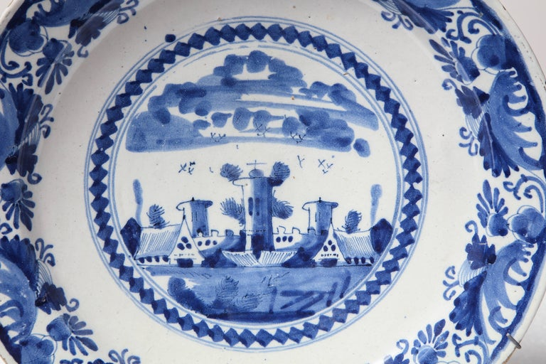 18th century blue and white delft charger.