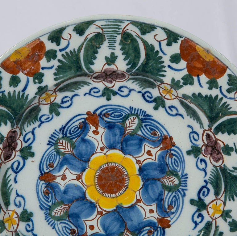 Dutch 18th Century Delft Charger Hand Painted in Polychrome Colors Made circa 1780 For Sale