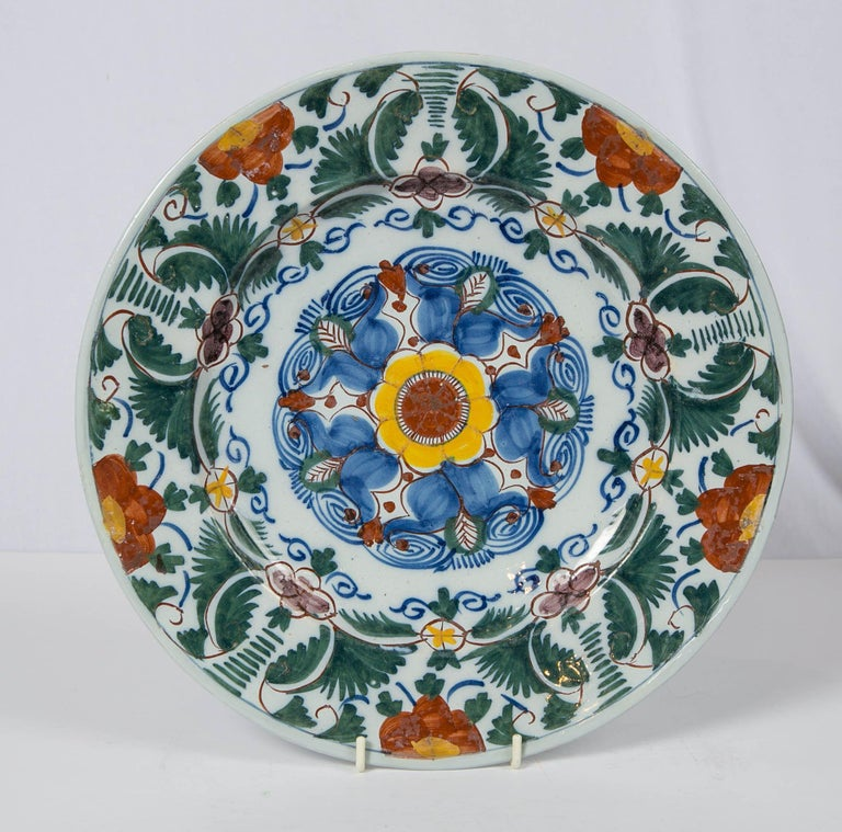 18th Century Delft Charger Hand Painted in Polychrome Colors Made circa 1780 For Sale 2