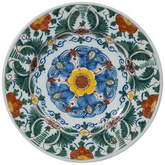 18th Century Delft Charger Hand Painted in Polychrome Colors Made circa 1780