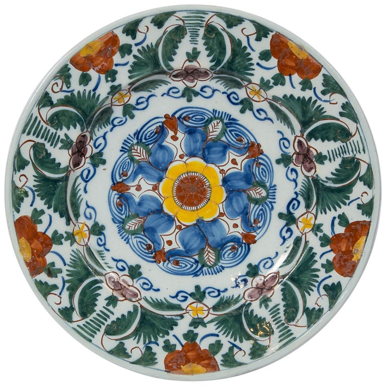 18th Century Delft Charger Hand Painted in Polychrome Colors Made circa 1780 For Sale