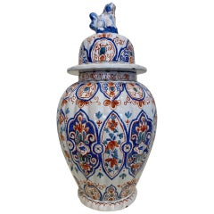 18th Century Delft Covered Urn