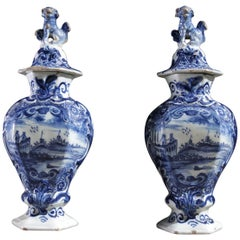 18th Century Dutch Delft Earthenware Vases Pieter van den Briel't Fortuyn
