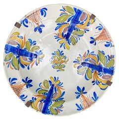 18th Century Delft Faience Polychrome Charger with Plate Hanger, Signed V.M.D.