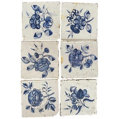 18th Century Delft Floral Tiles, Set of Seven