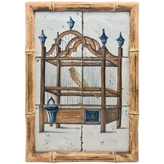 18th Century Delft Framed Tile Panel of a Yellow Bird in a Cage