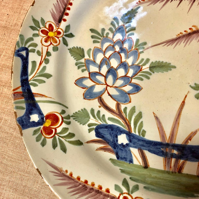 18th Century Delft Polychrome Charger For Sale 4