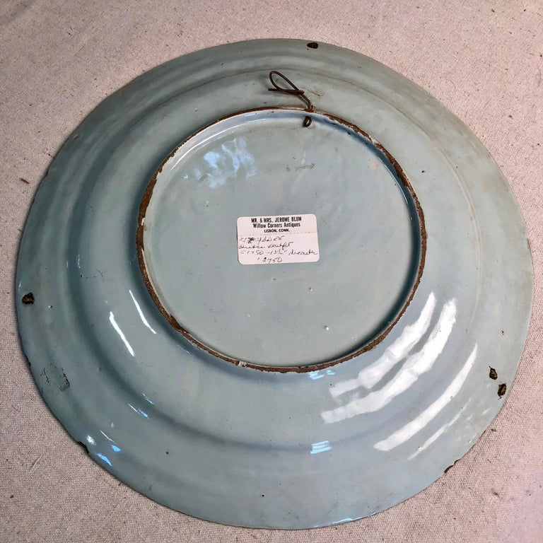18th Century Delft Polychrome Charger For Sale 1