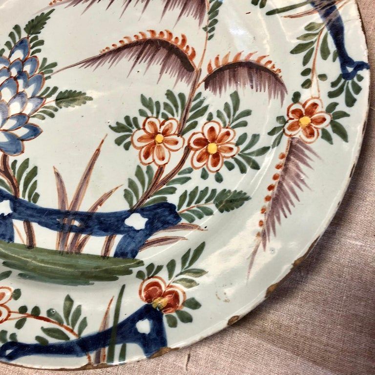 18th Century Delft Polychrome Charger For Sale 2