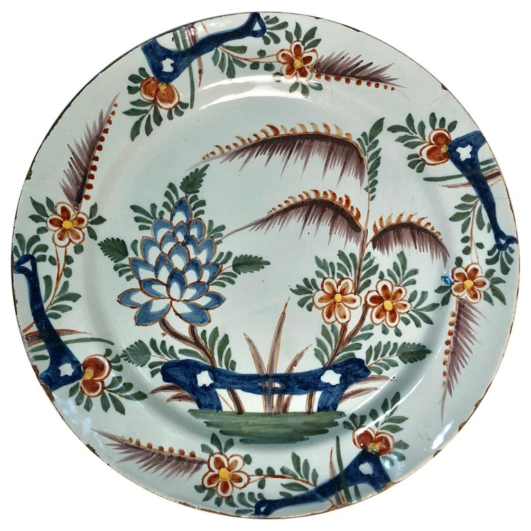 18th Century Delft Polychrome Charger For Sale