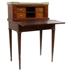 18th Century Desk Secretary in Mahogany Marquetry of Cubes and White Marble