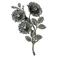 19th Century, Diamonds, 18k Yellow Gold, Silver Tremblant Spray Flowers Brooch