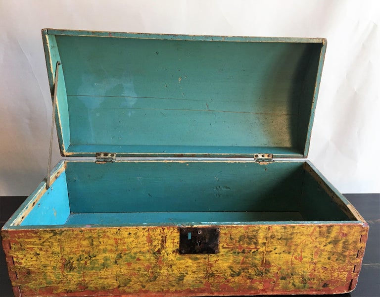 Painted 18th Century Dome Top Box For Sale