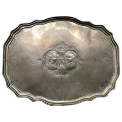 18th century Dutch Brass Repoussé  Commemorative Wedding Tray