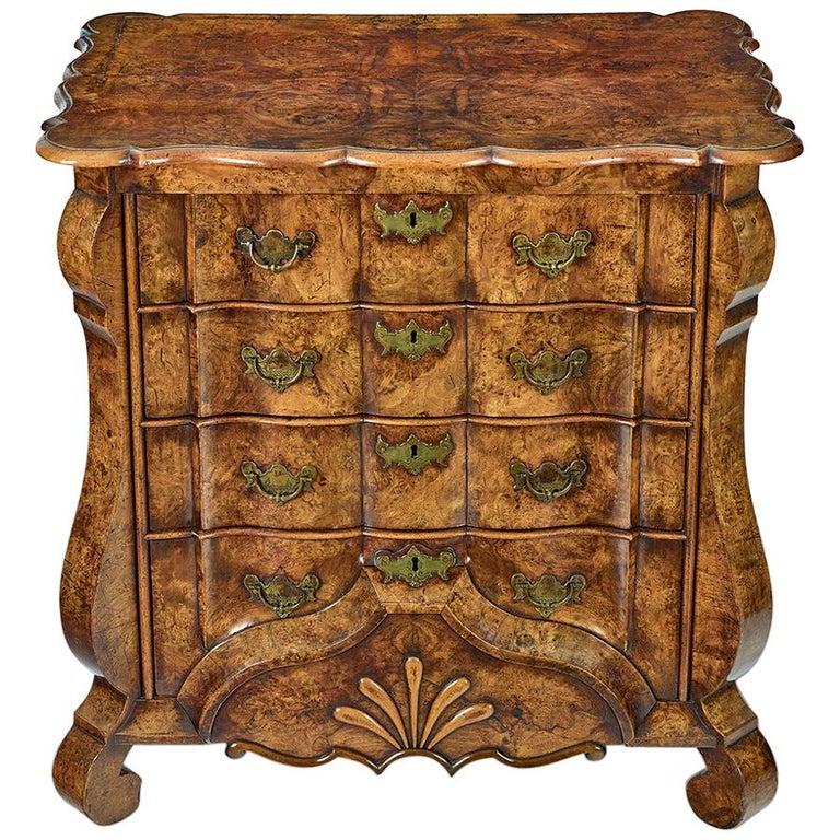 18th Century Dutch Burr Walnut Commode For Sale