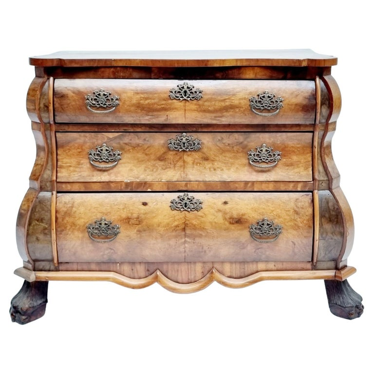 Fine Quality Walnut Inlaid Dutch Chest Of 3 Drawers, 19th Century For Sale