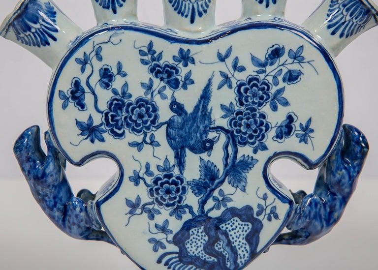 Rococo 18th Century Dutch Delft Blue and White Tulip Vase 'Tulipiere' For Sale