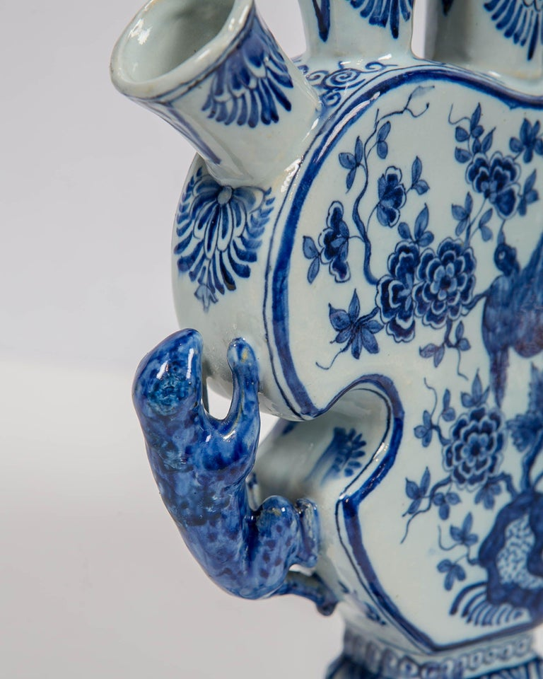 Hand-Painted 18th Century Dutch Delft Blue and White Tulip Vase 'Tulipiere' For Sale