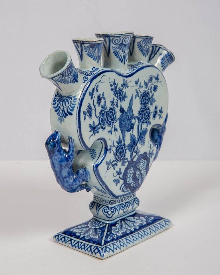 18th Century Dutch Delft Blue and White Tulip Vase 'Tulipiere' For Sale 2