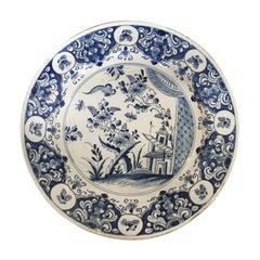 18th Century Dutch Delft Blue Chinoiserie Charger
