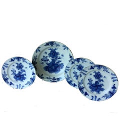 18th Century Dutch Delft Blue Large Charger and Three-Plates