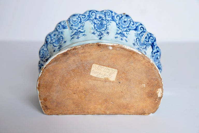 18th Century Dutch Delft Bough Pot / Wall Pocket For Sale 8