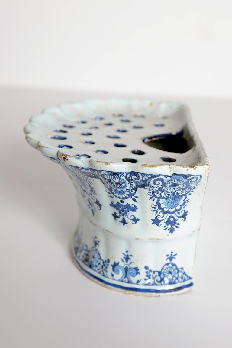 18th Century Dutch Delft Bough Pot / Wall Pocket For Sale 1